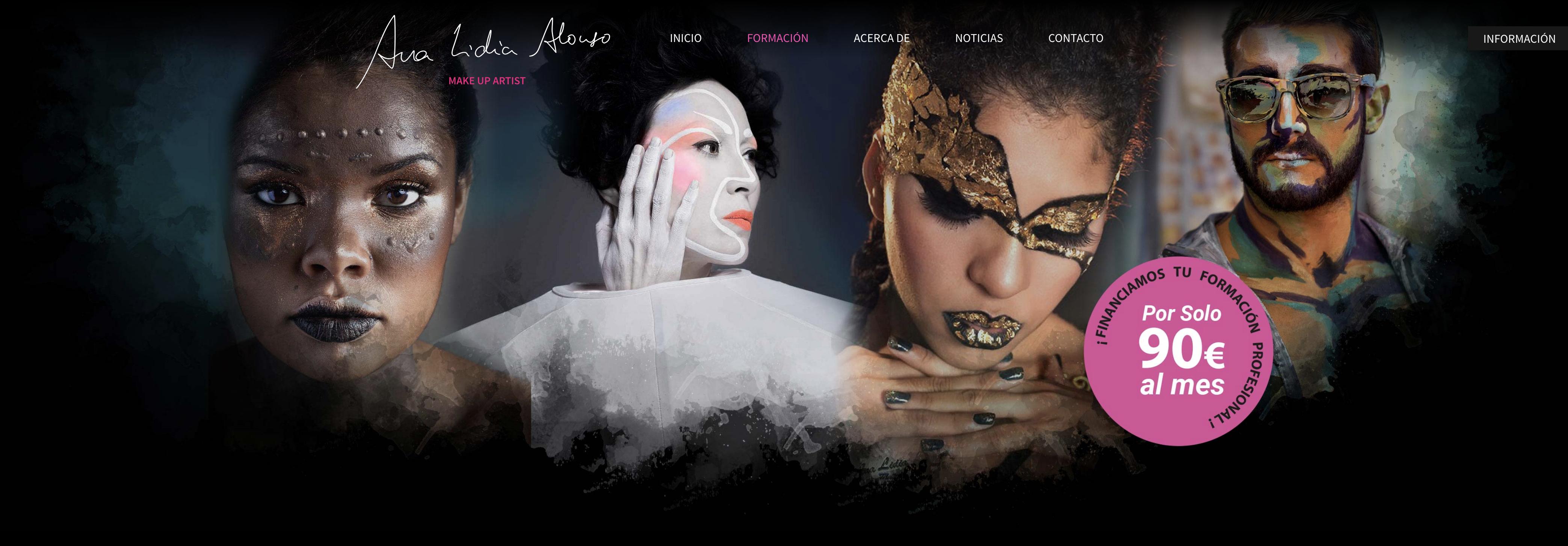 Cabecera de la web con distintos maquillajes