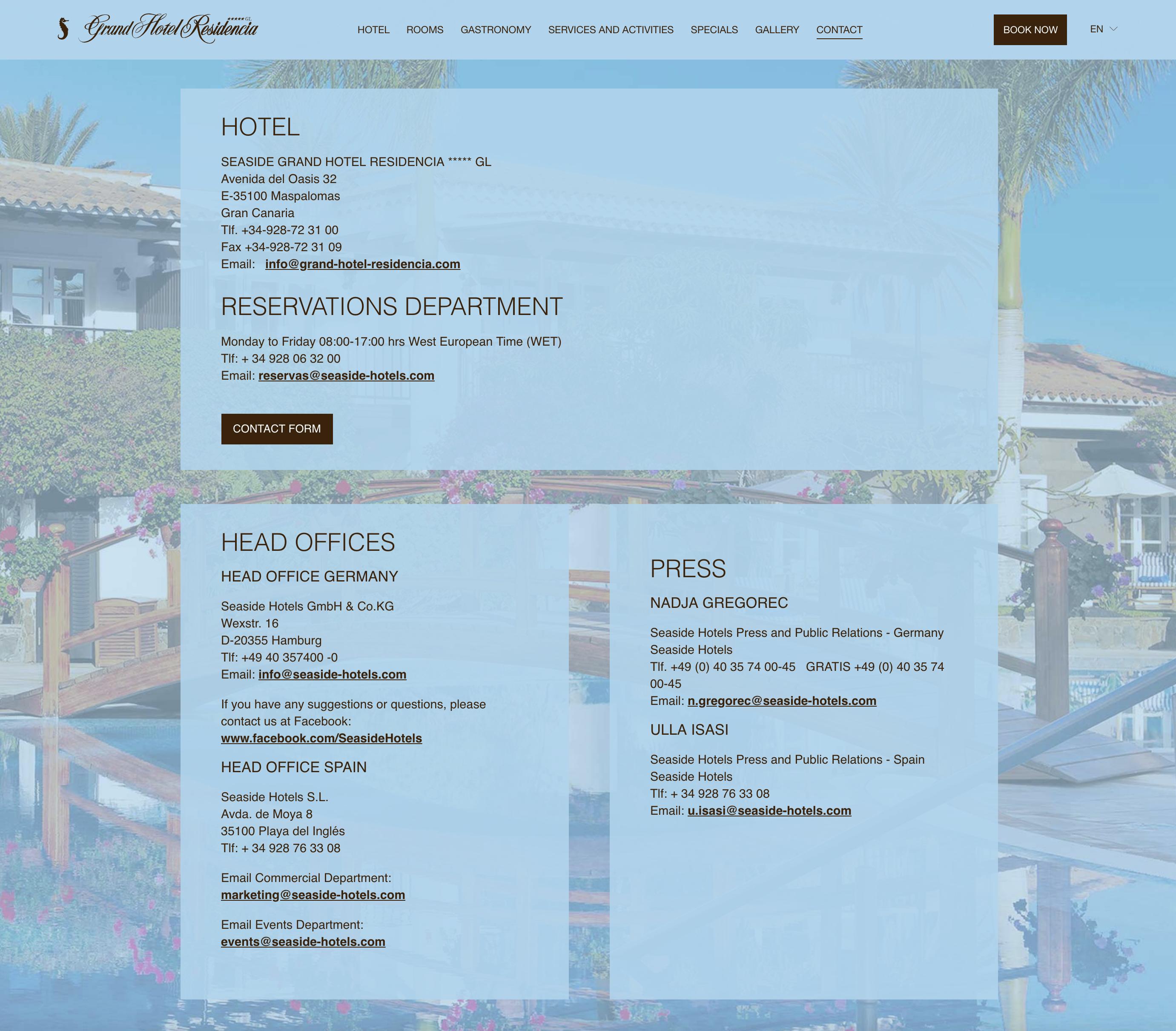 Apartado de contacto en Seaside Grand Hotel Residencia