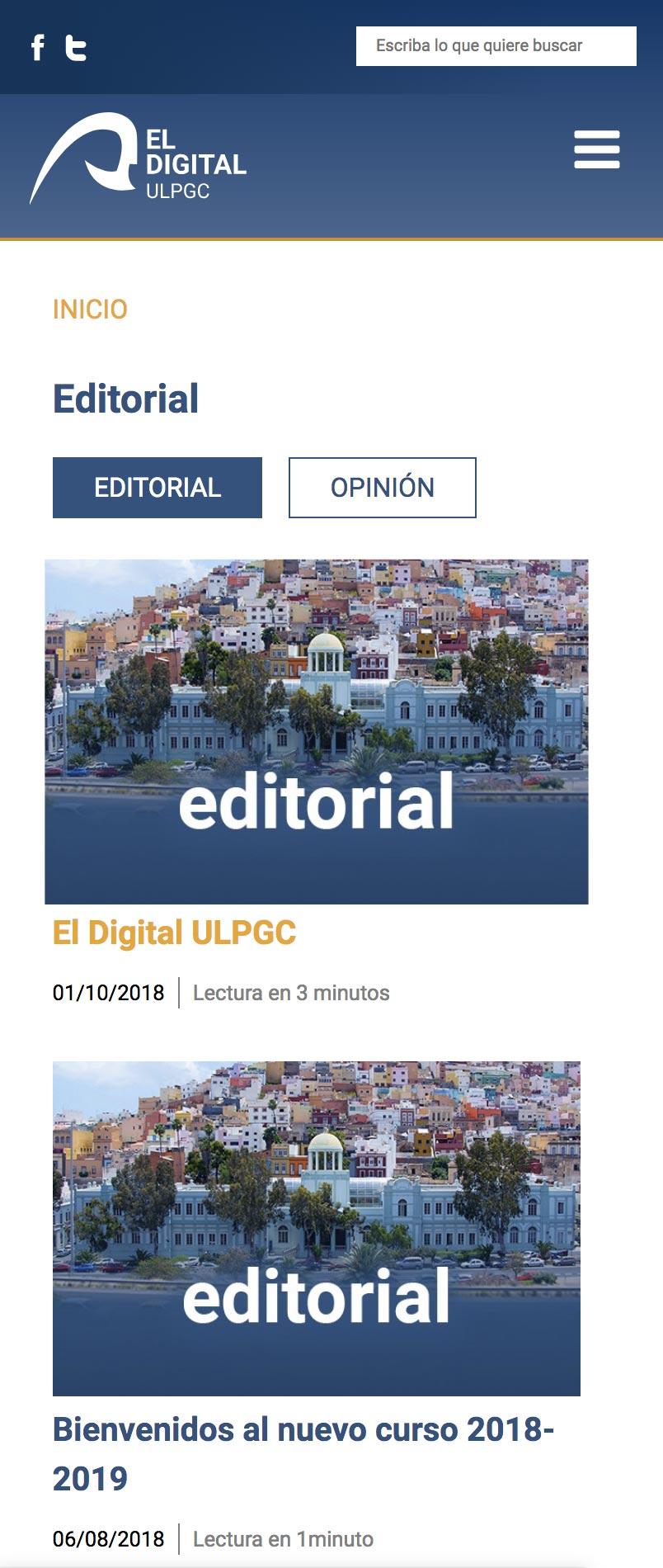 Versión Móvil: Apartado Editorial