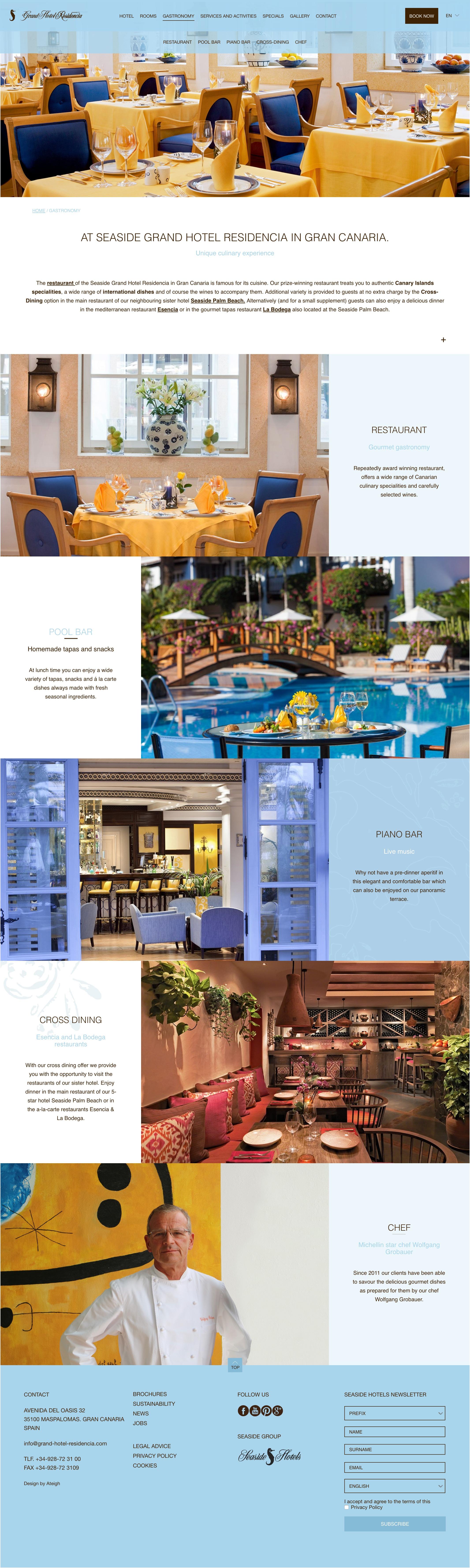 Apartado de Gastronomía en Seaside Grand Hotel Residencia