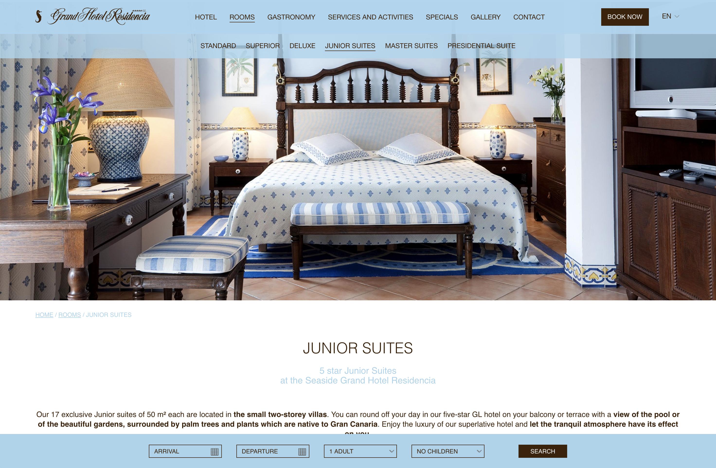 Apartado de habitaciones en Seaside Grand Hotel Residencia