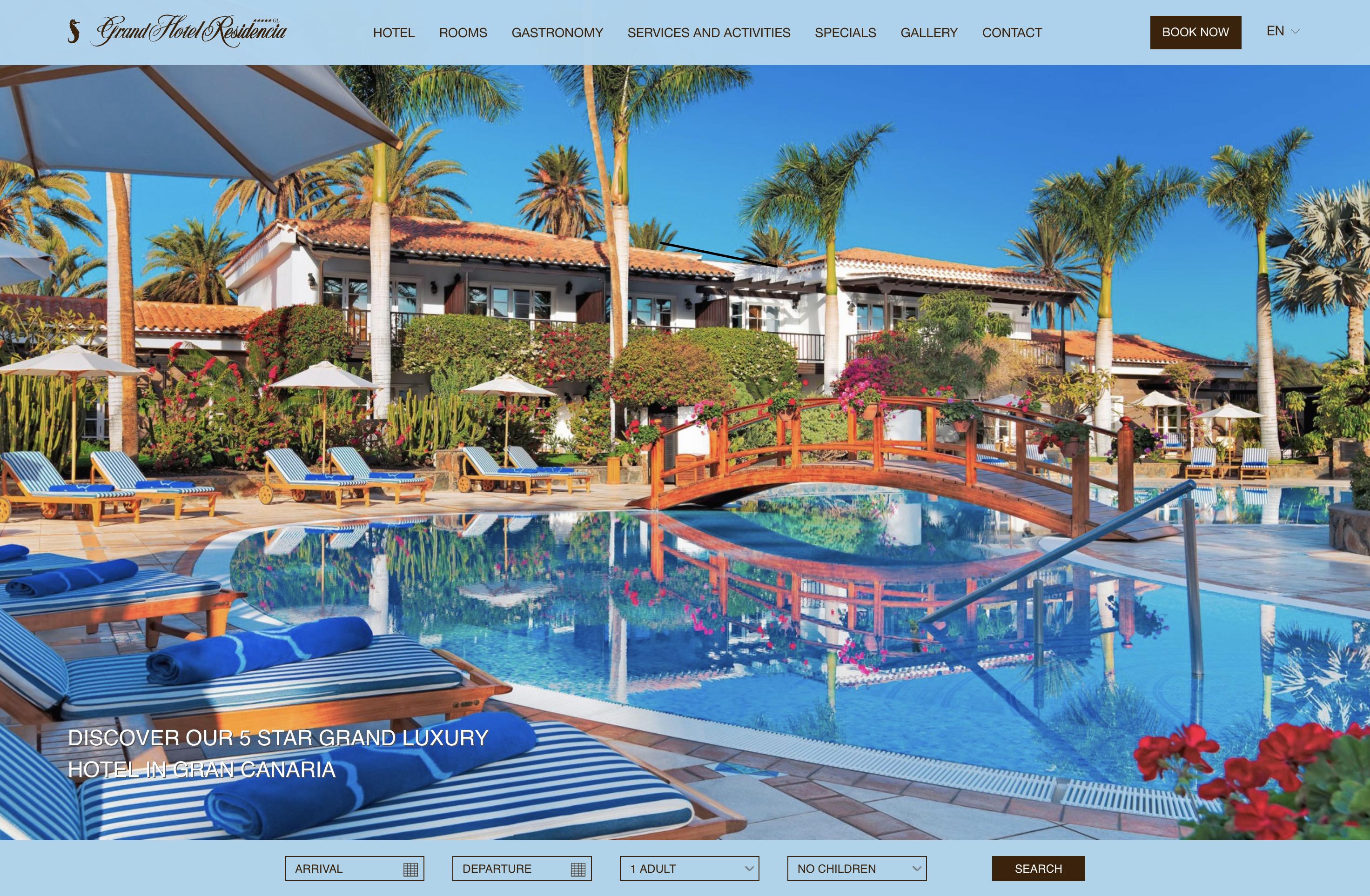 Portada de la web de Seaside Grand Hotel Residencia