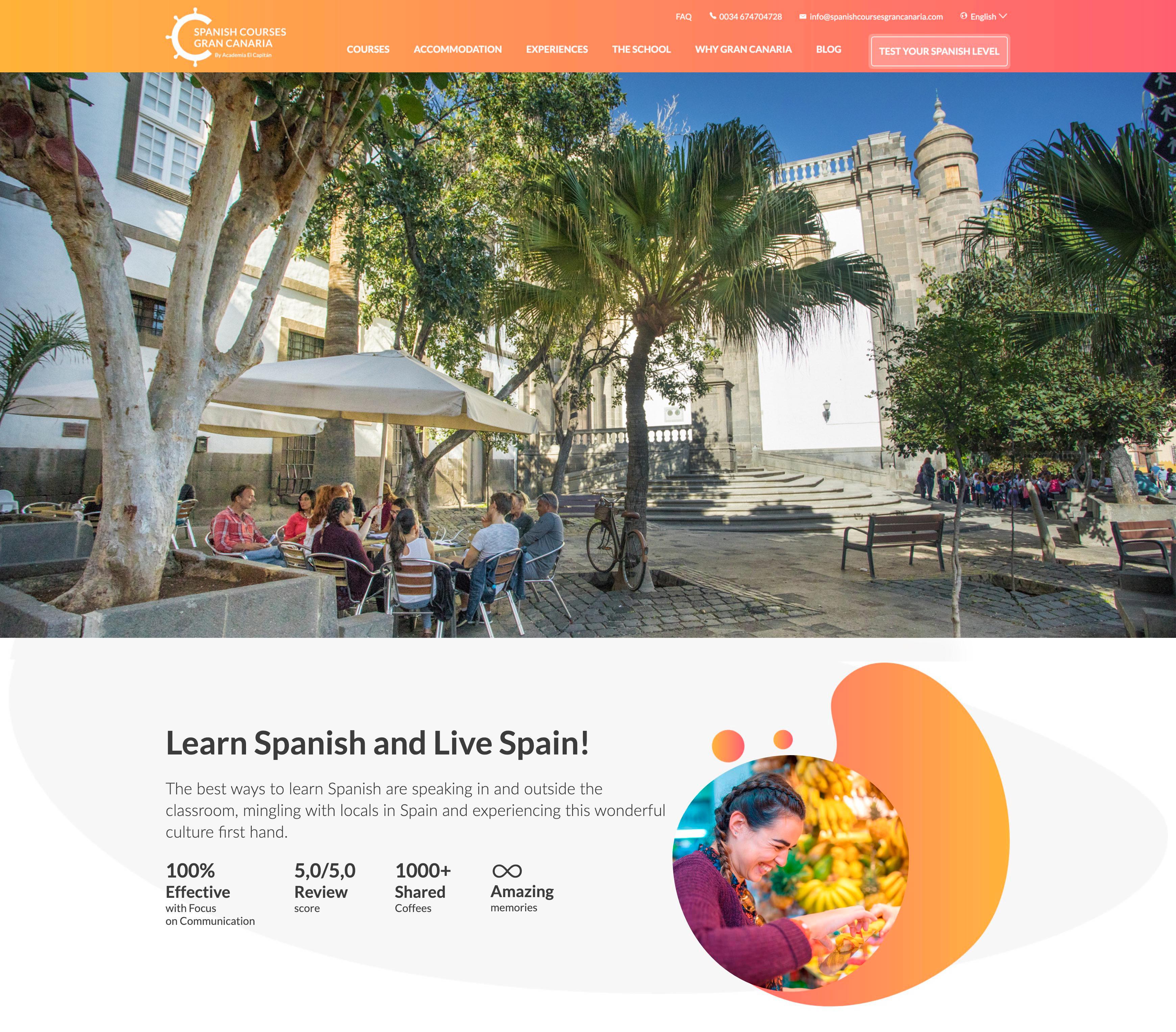 Spanish Courses Gran Canaria, portada de la web