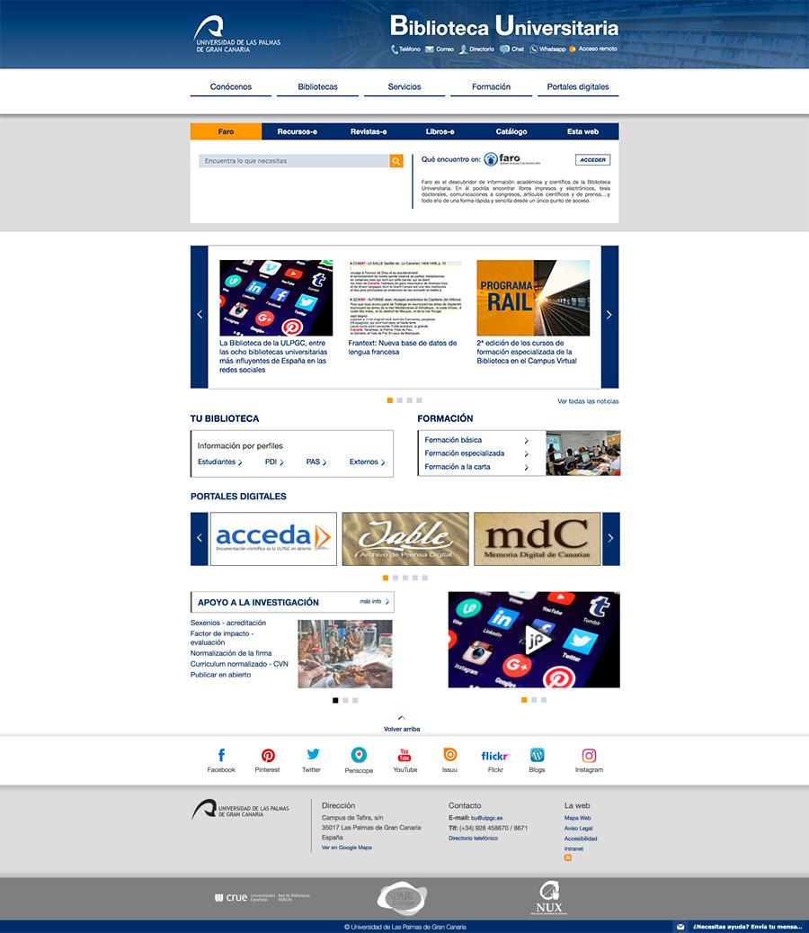 Portada de la web de la Biblioteca Universitaria de Las Palmas de Gran Canaria