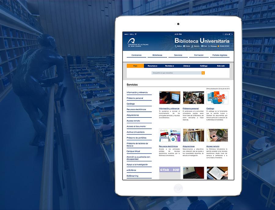 Ipad con web de la Biblioteca Universitaria de Las Palmas de Gran Canaria