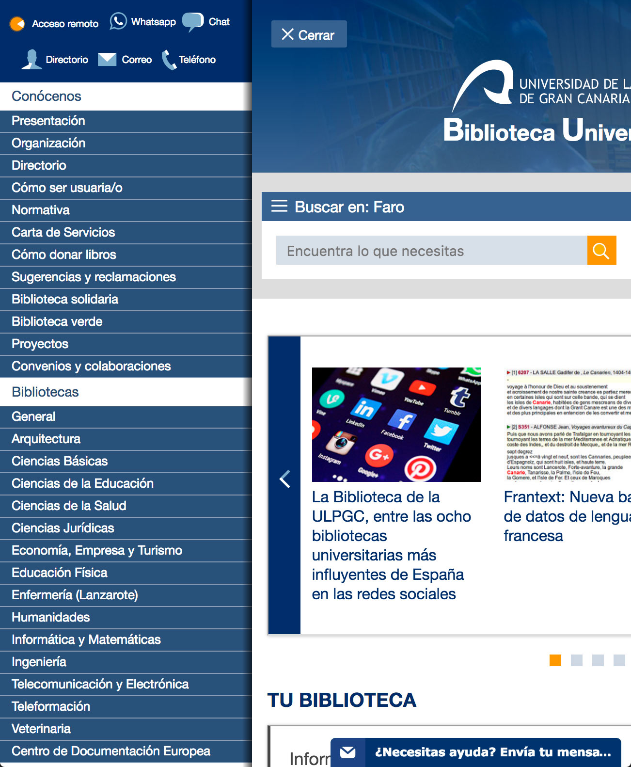 Versión Móvil de la web de la Biblioteca de la Universidad de Las Palmas de Gran Canaria