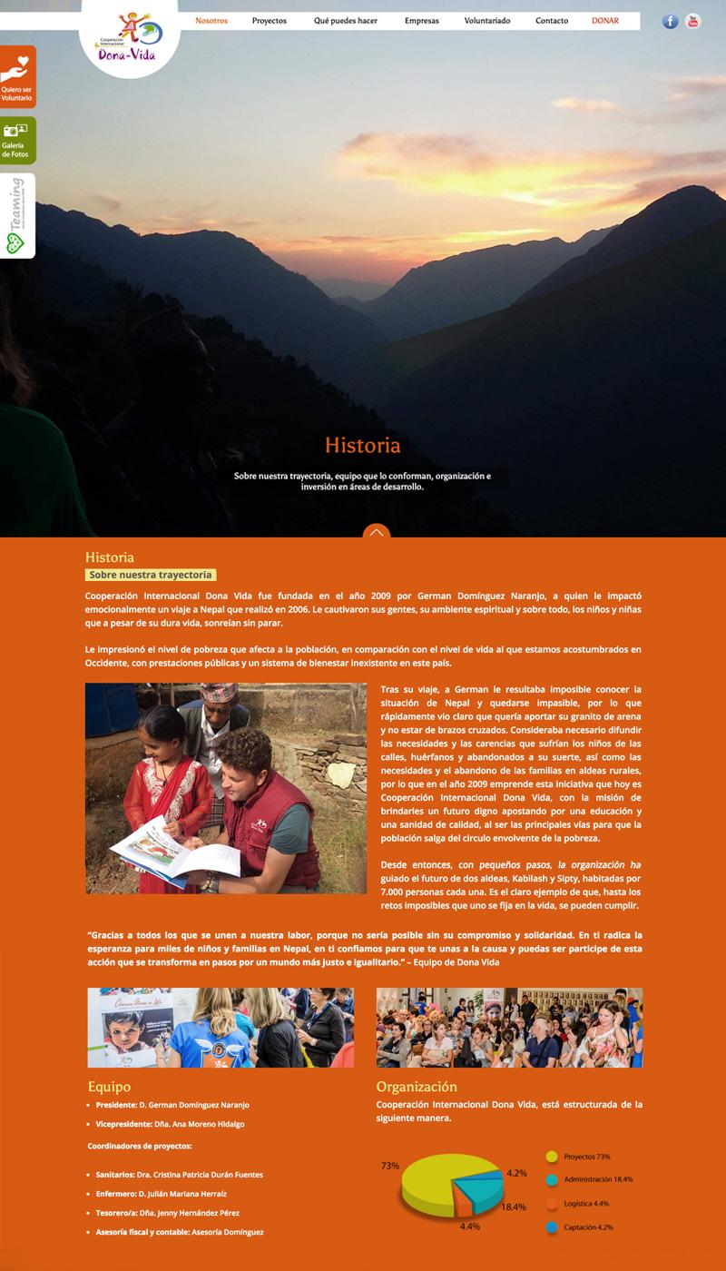 Apartado Historia de la web de Cooperación Internacional Dona Vida