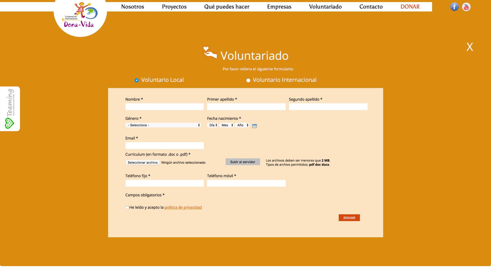 Formulario de la web de Voluntarios