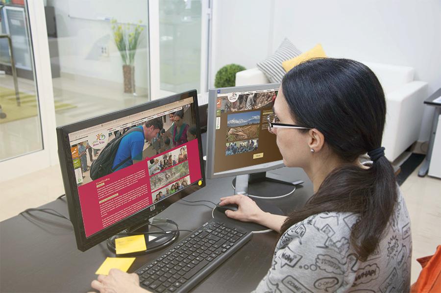 Arantxa trabajando en la web de Dona Vida