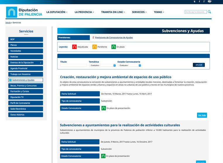 Captura de la web de la diputación. Apartado de subvenciones y ayudas