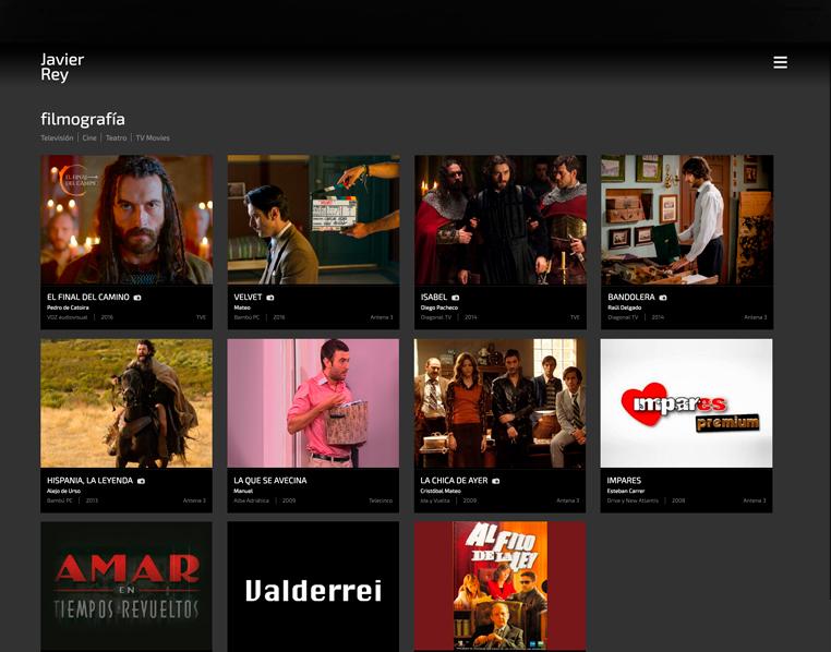 Collage de imágenes de la filmografía del actor Javier Rey