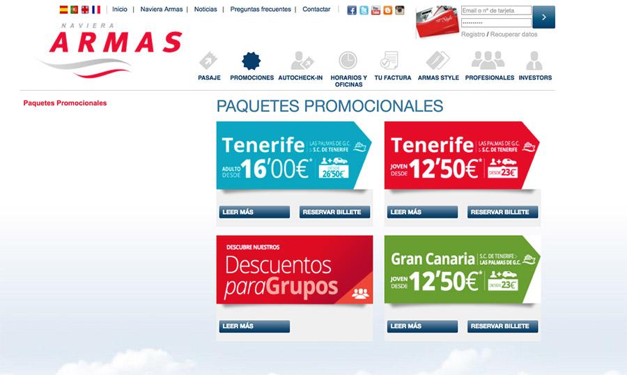 Paquetes promocionales de la web de Naviera Armas