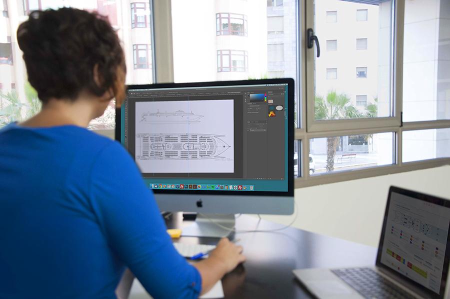 Marta diseñando la pantalla de acomodación del Volcán del Teno