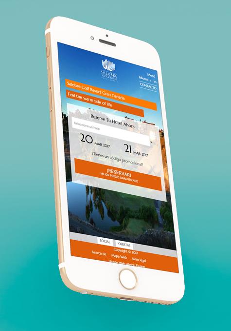 Móvil con la versión de la web de Salobre Golf Resort