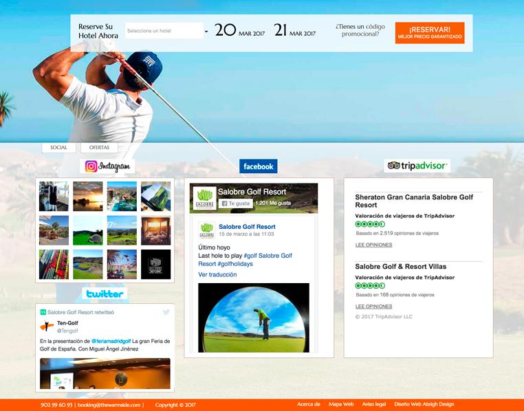 Integración de widgets de redes sociales en la web de Salobre Golf Resort