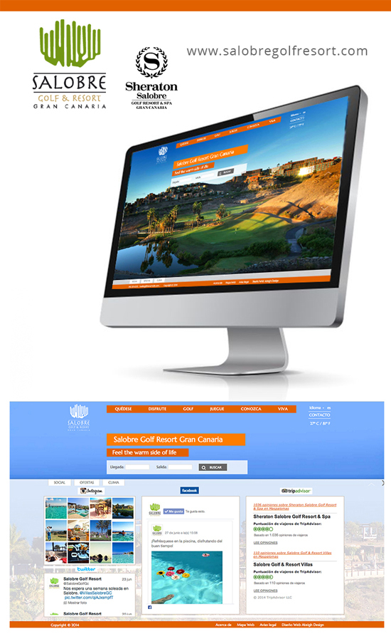 Ordenador con captura de pantalla de la web de Salobre Golf & Resort