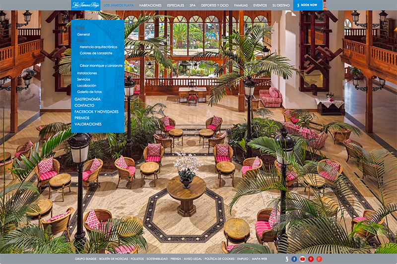 Menú izquierdo de la web de Seaside Los Jameos Playa. Interior del hotel