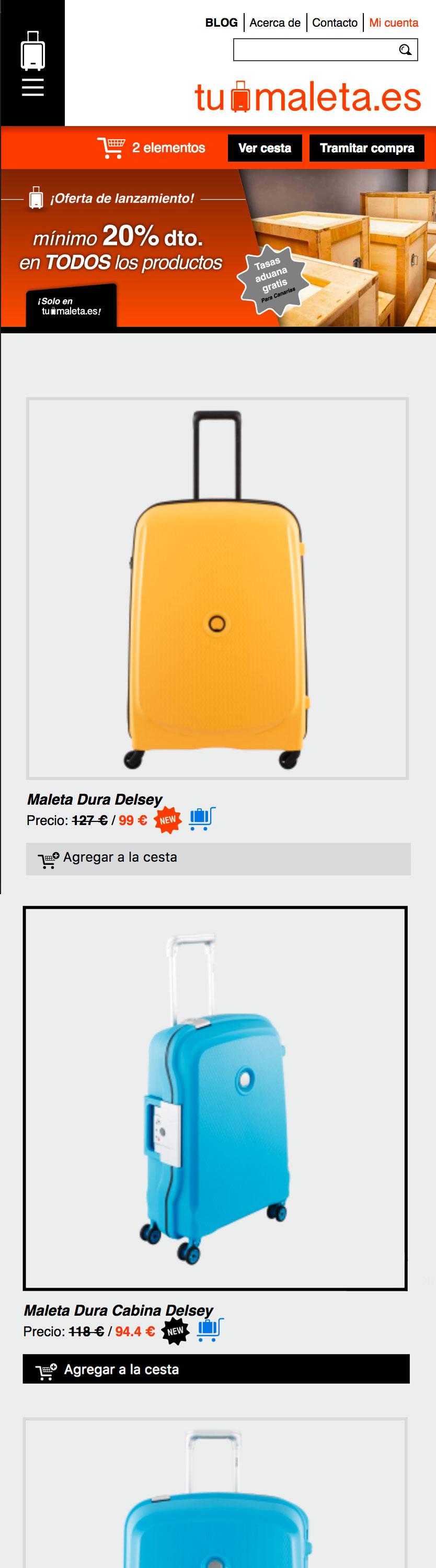 Versión móvil de la web de Tumaleta.es