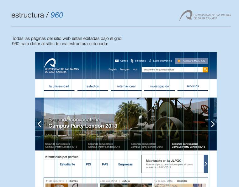 Captura de pantalla de la web de la ULPGC con grid de diseño