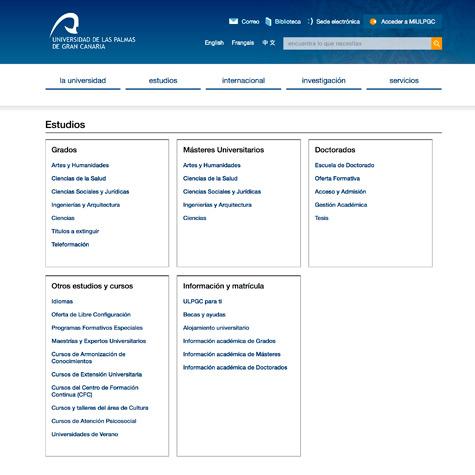 Estructura de contenidos interior de la web de la Universidad de Las Palmas de Gran Canaria