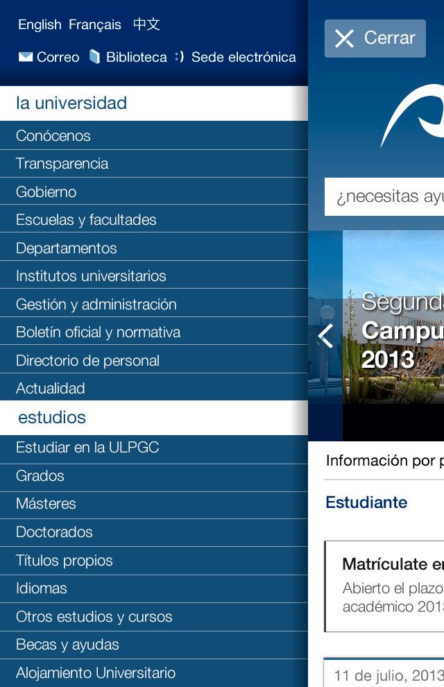 Menú móvil de la web de la Universidad de Las Palmas de Gran Canaria