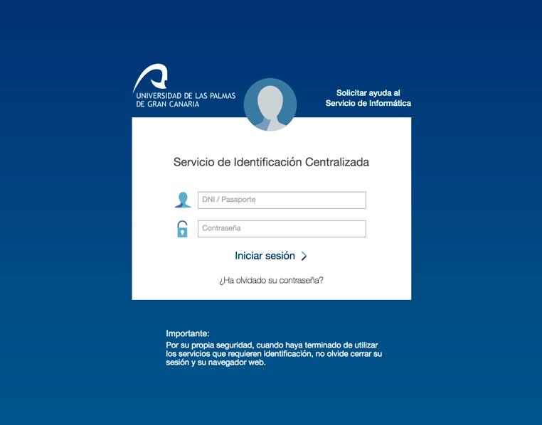 Pantalla de autenticación de usuario de la web de la Universidad de Las Palmas de Gran Canaria