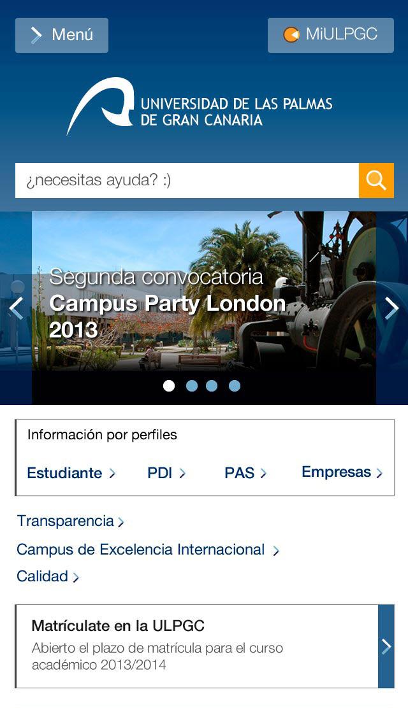Versión Móvil de la web de la Universidad de Las Palmas de Gran Canaria