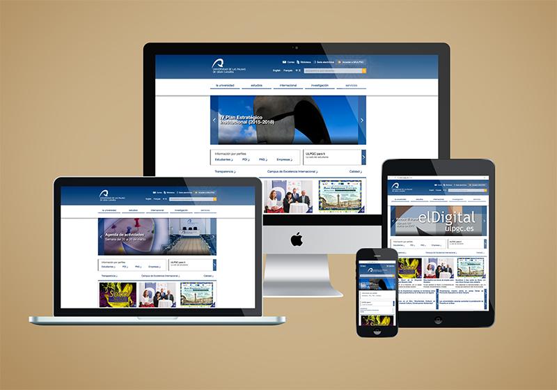 Muestra de dispositivos y la web de la Universidad de Las Palmas de Gran Canaria