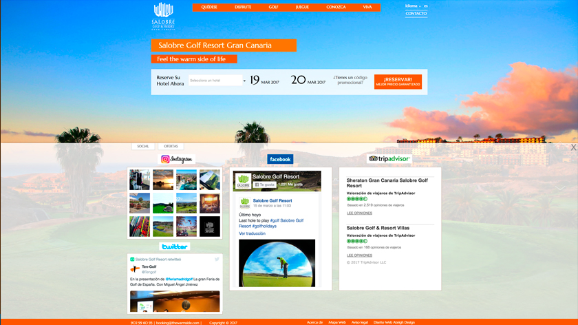 Web de Salobre Golf con widgets de redes sociales integrados.